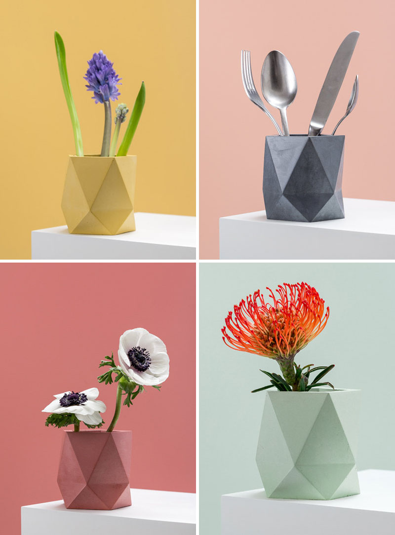 Эти красочные бетонные ящики для цветов и вазы придают вашему декору нотку геометрии