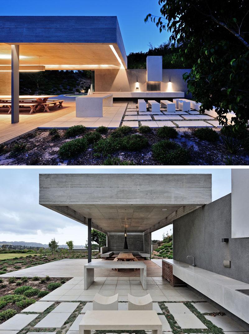 Этот бетонный садовый павильон был спроектирован с добавлением нескольких зон для развлечений