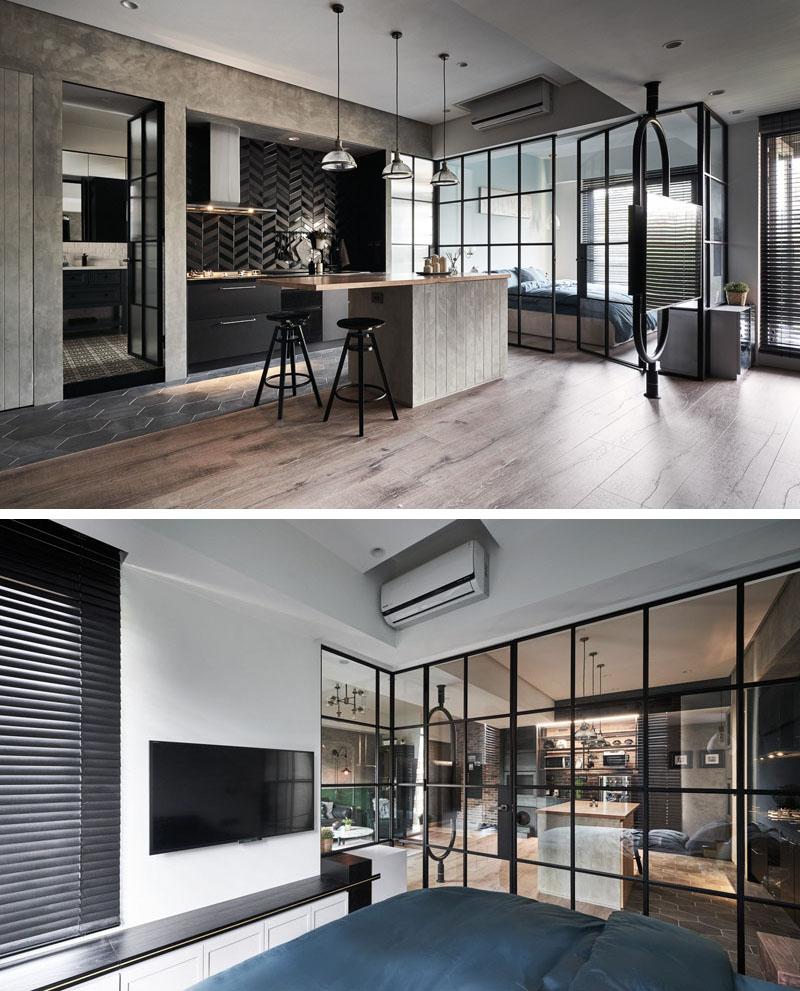 Темные элементы интерьера задают настроение в этой квартире в Тайване
